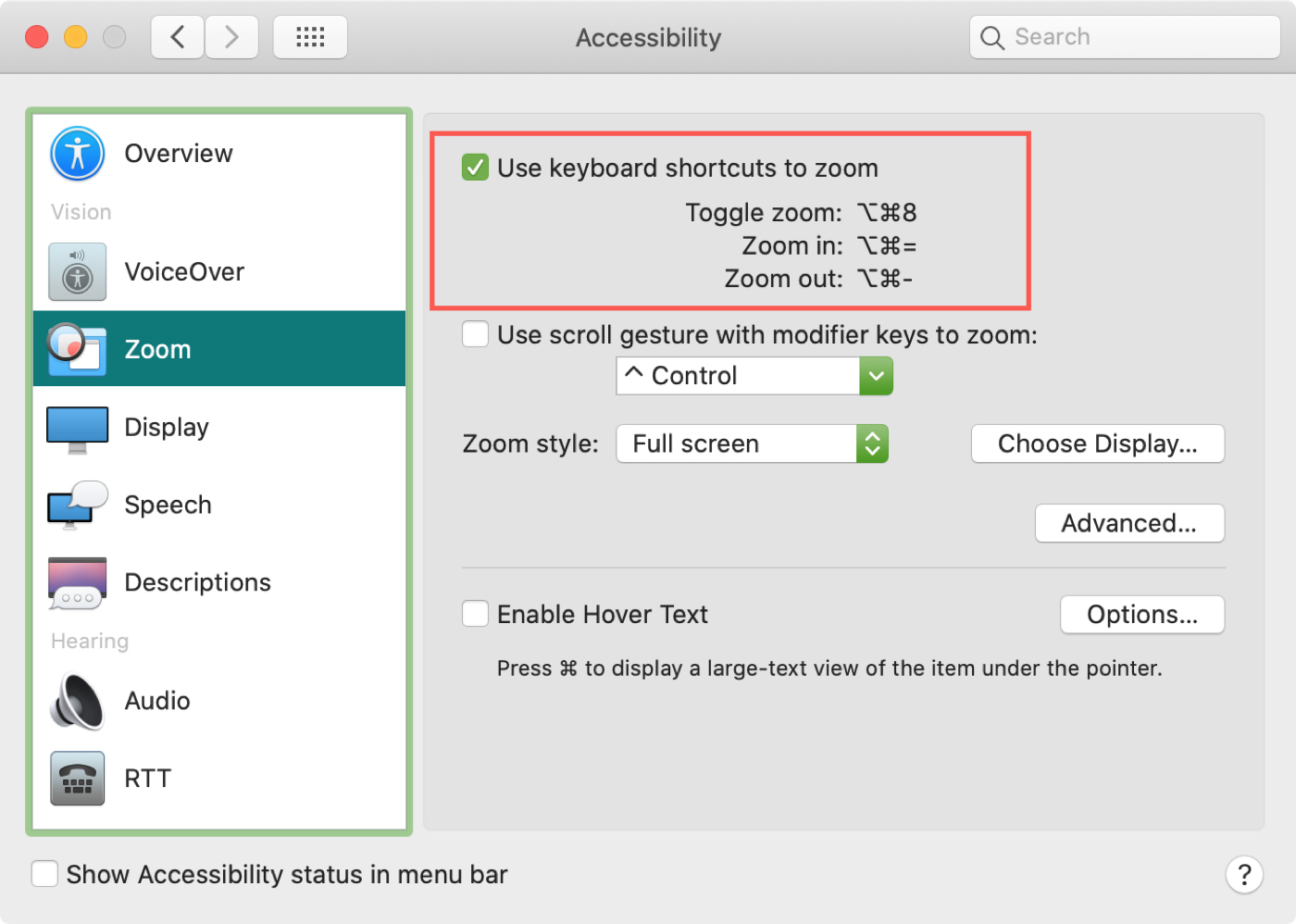 Mac Accessibility Zoom Shortcuts