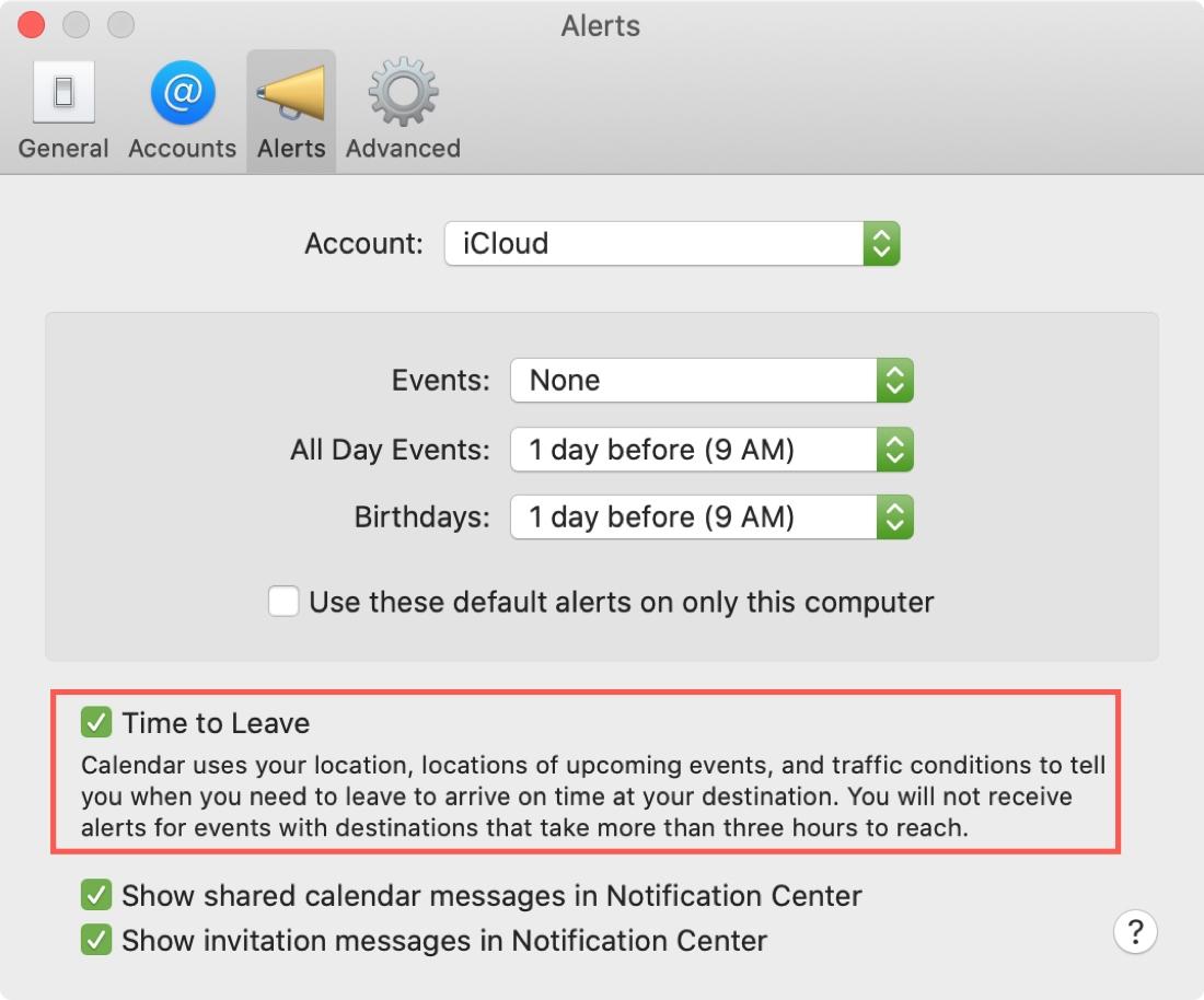Mac Calendar Time to Leave Alert