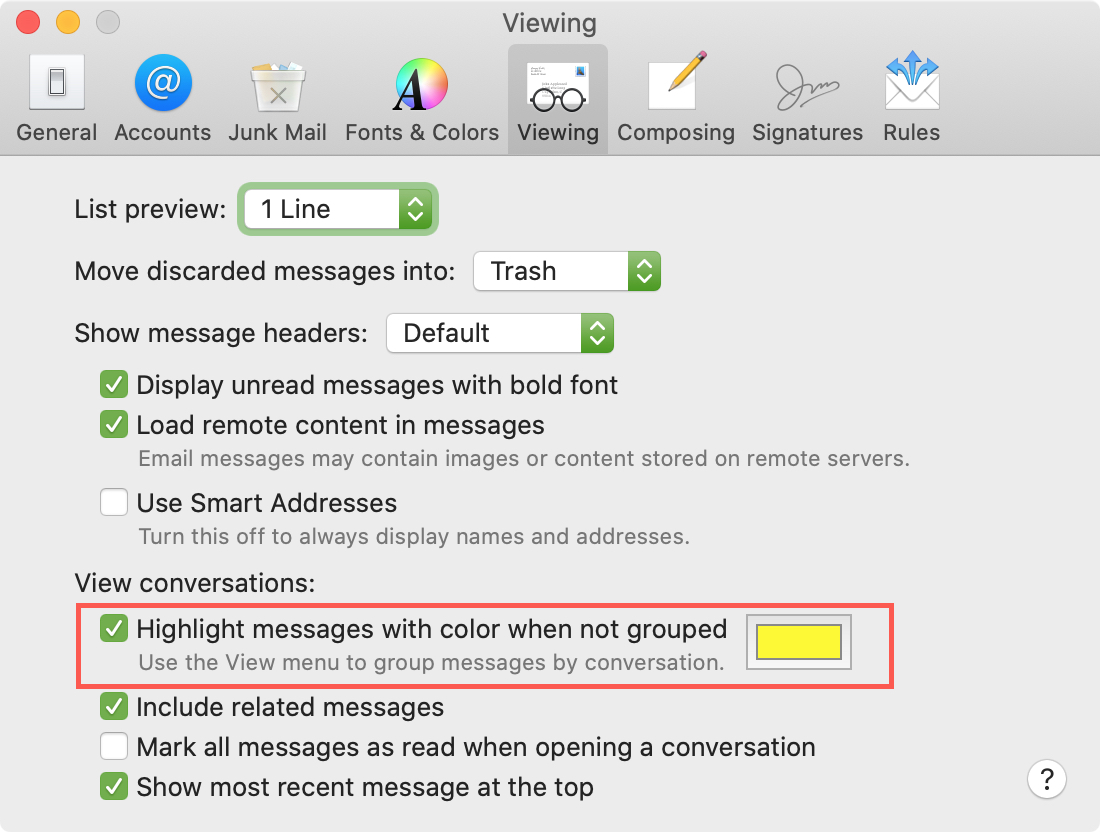 Mail Preferences Viewing highlight color