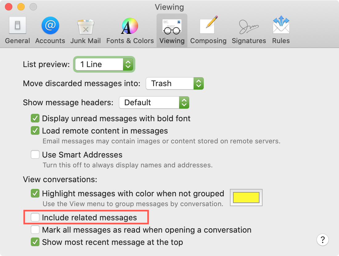 Mail Preferences Viewing uncheck related messages