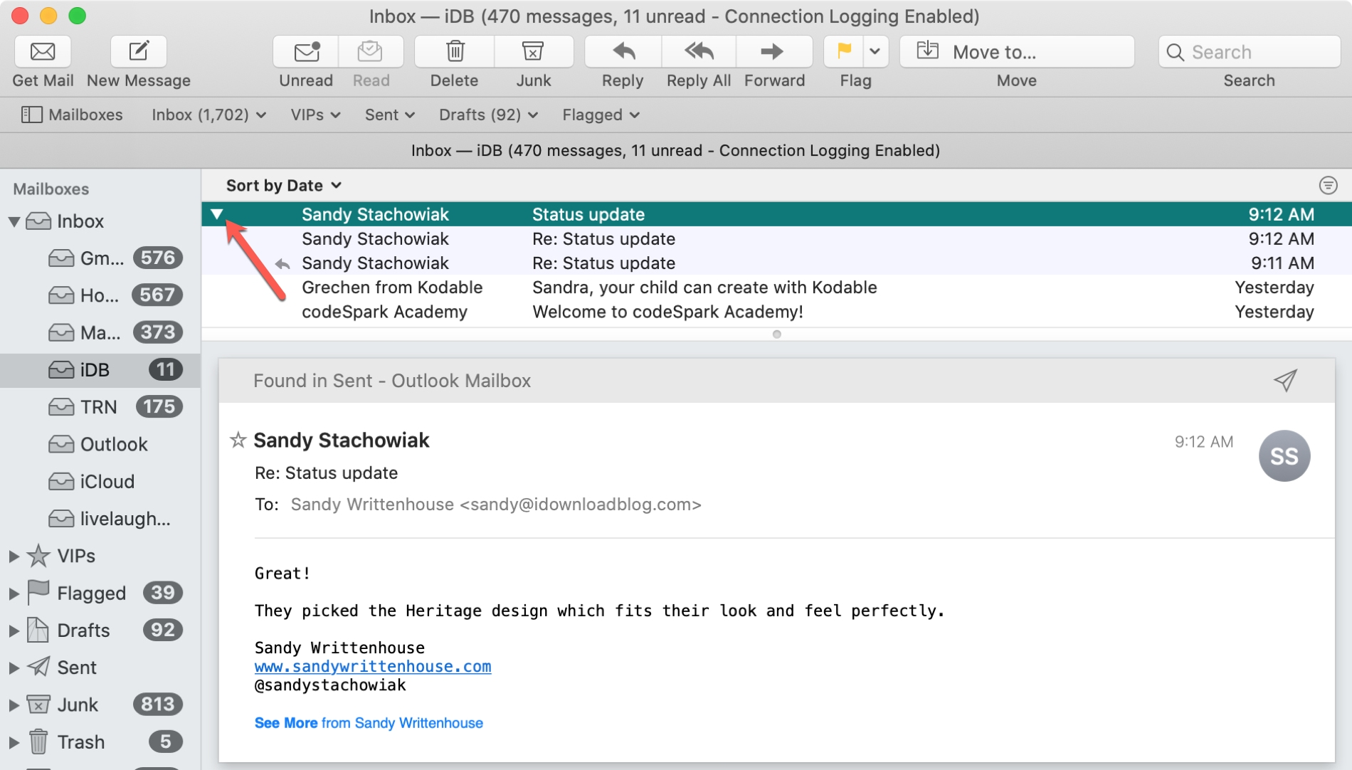 Mail arrow expand conversations
