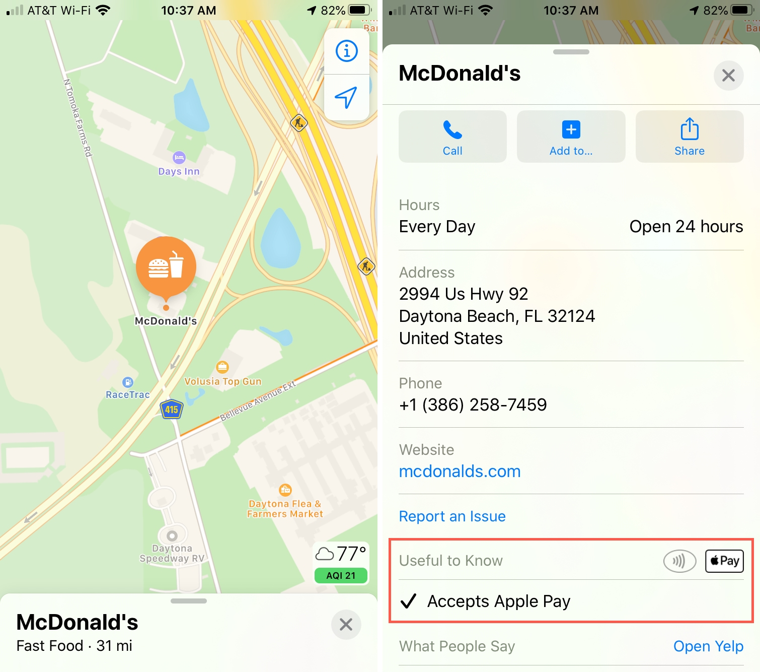 Maps Accepts Apple Pay iPhone