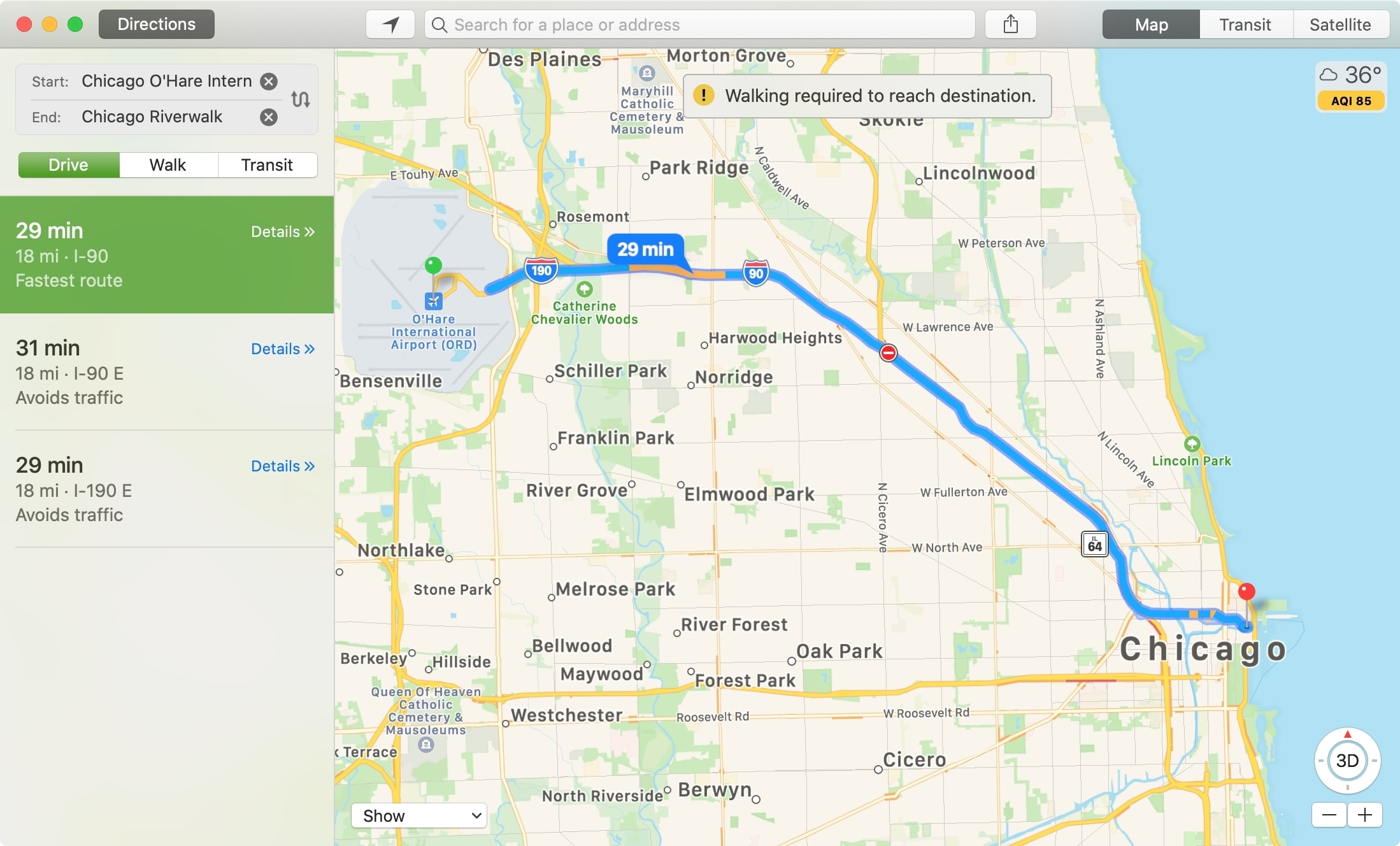Maps Distance Between Locations Mac