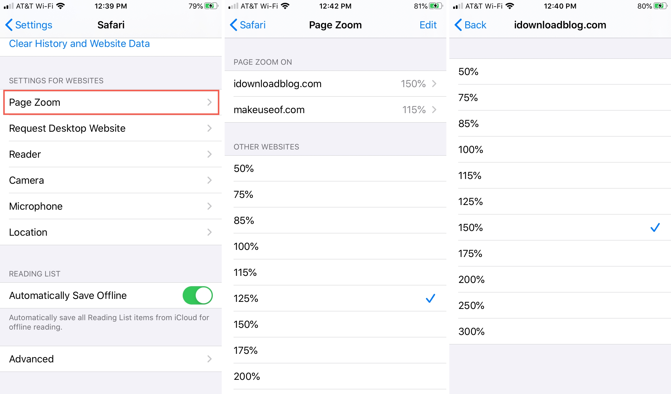 Page Zoom site settings Safari iPhone