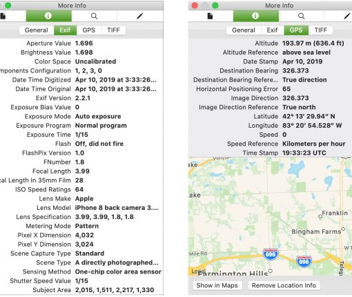 Photos EXIF and GPS data Mac