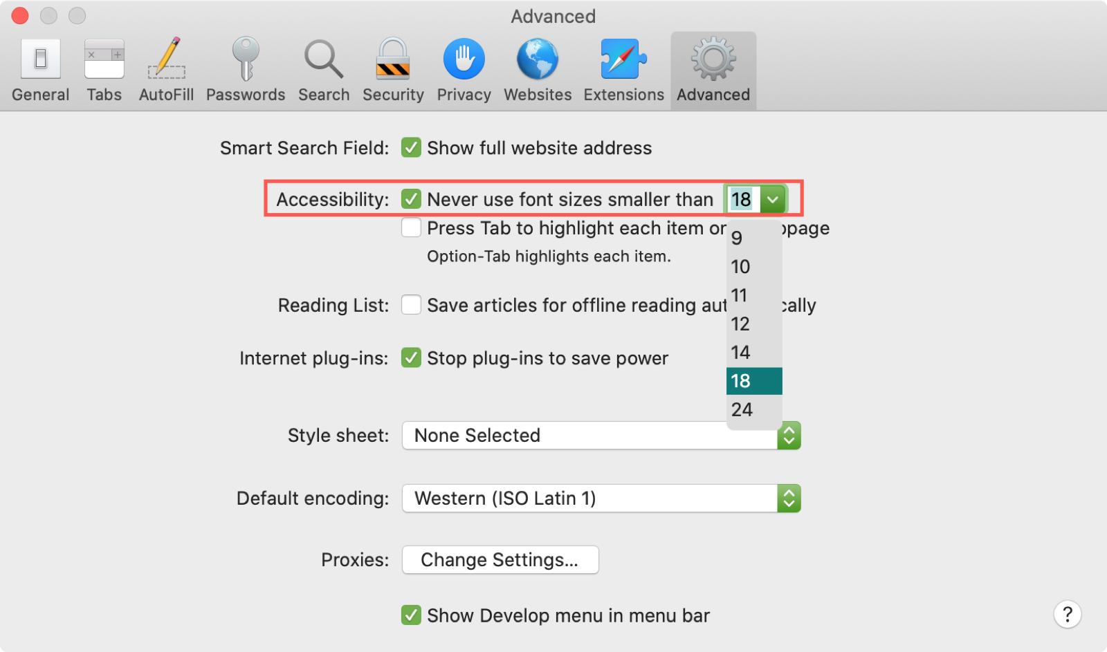 Safari Increase Font Size Mac