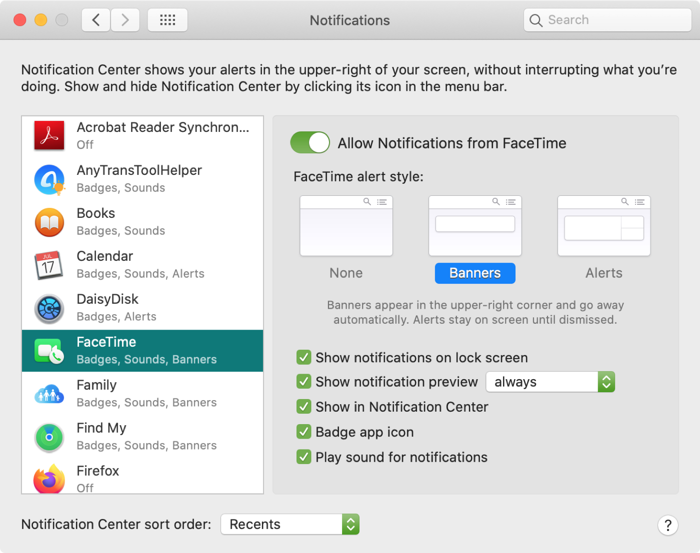System Preferences Notifications FT Mac