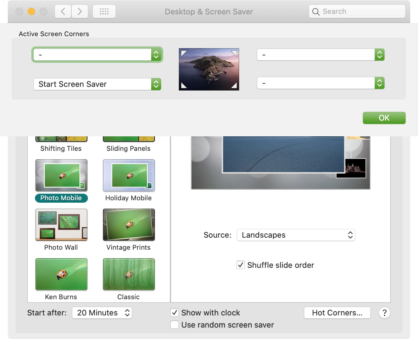 System Preferences Screen Saver Pick Hot Corner