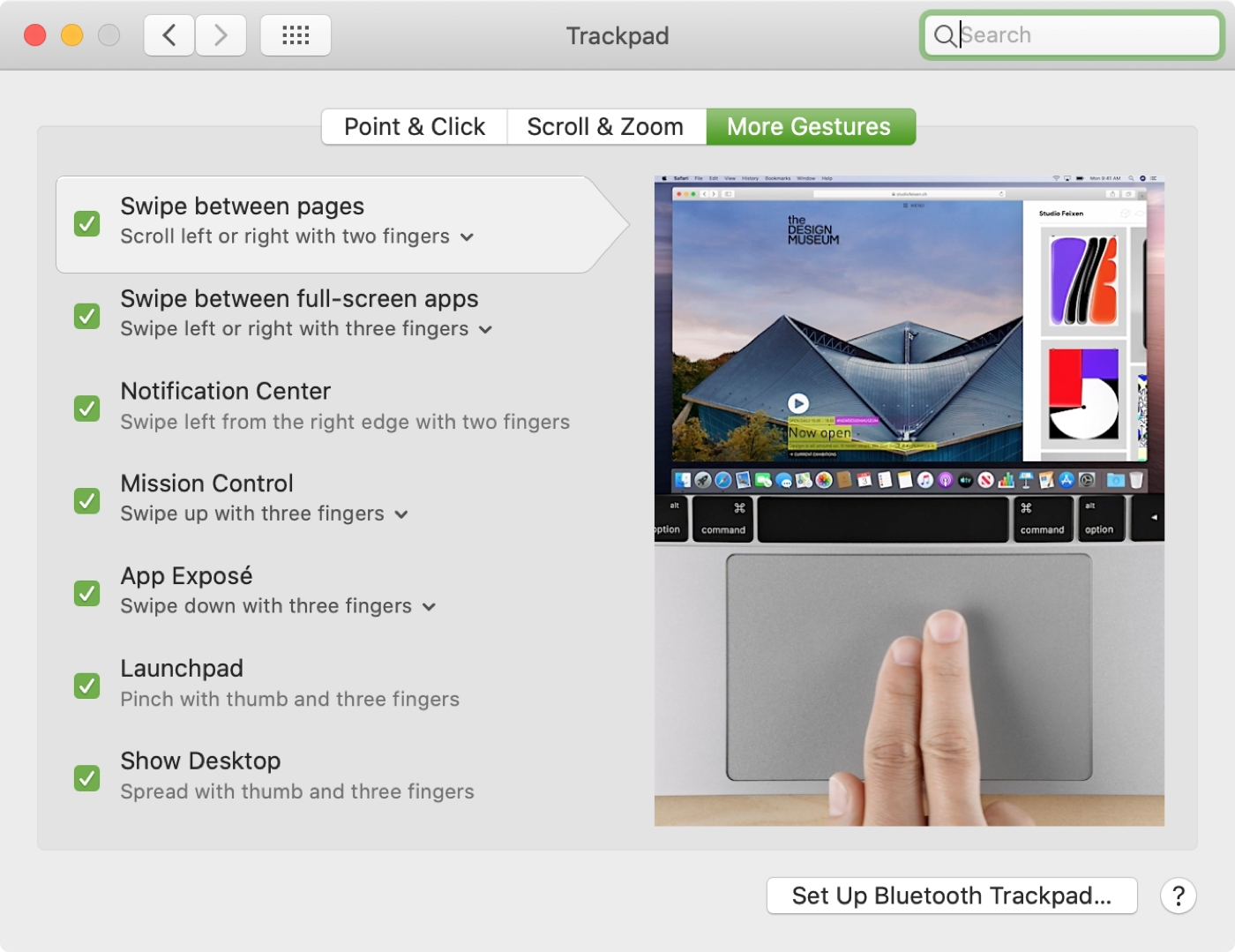 Trackpad More Gestures Settings Mac