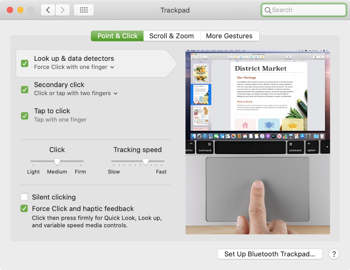 Trackpad Point and Click Settings Mac