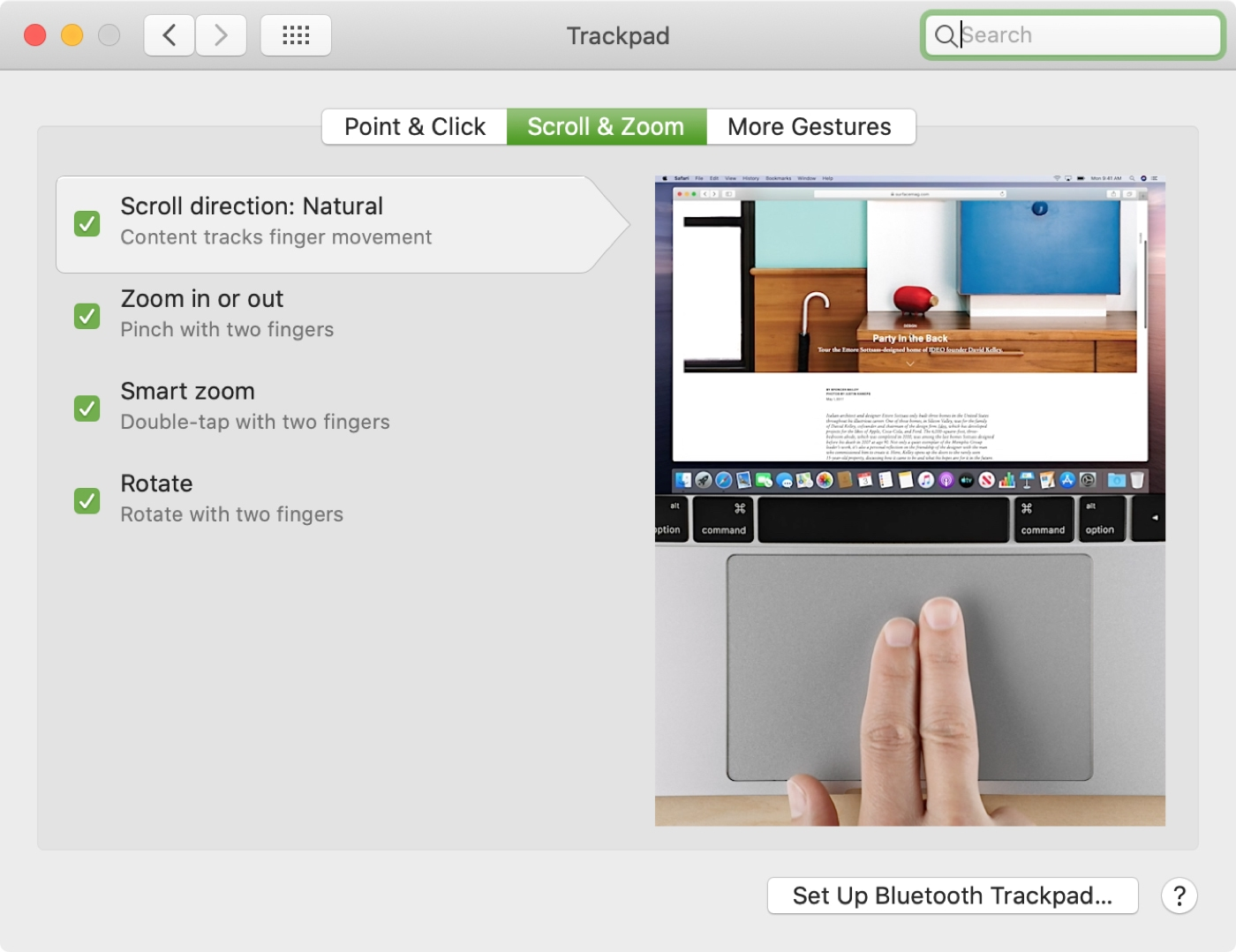 Trackpad Scroll and Zoom Settings Mac