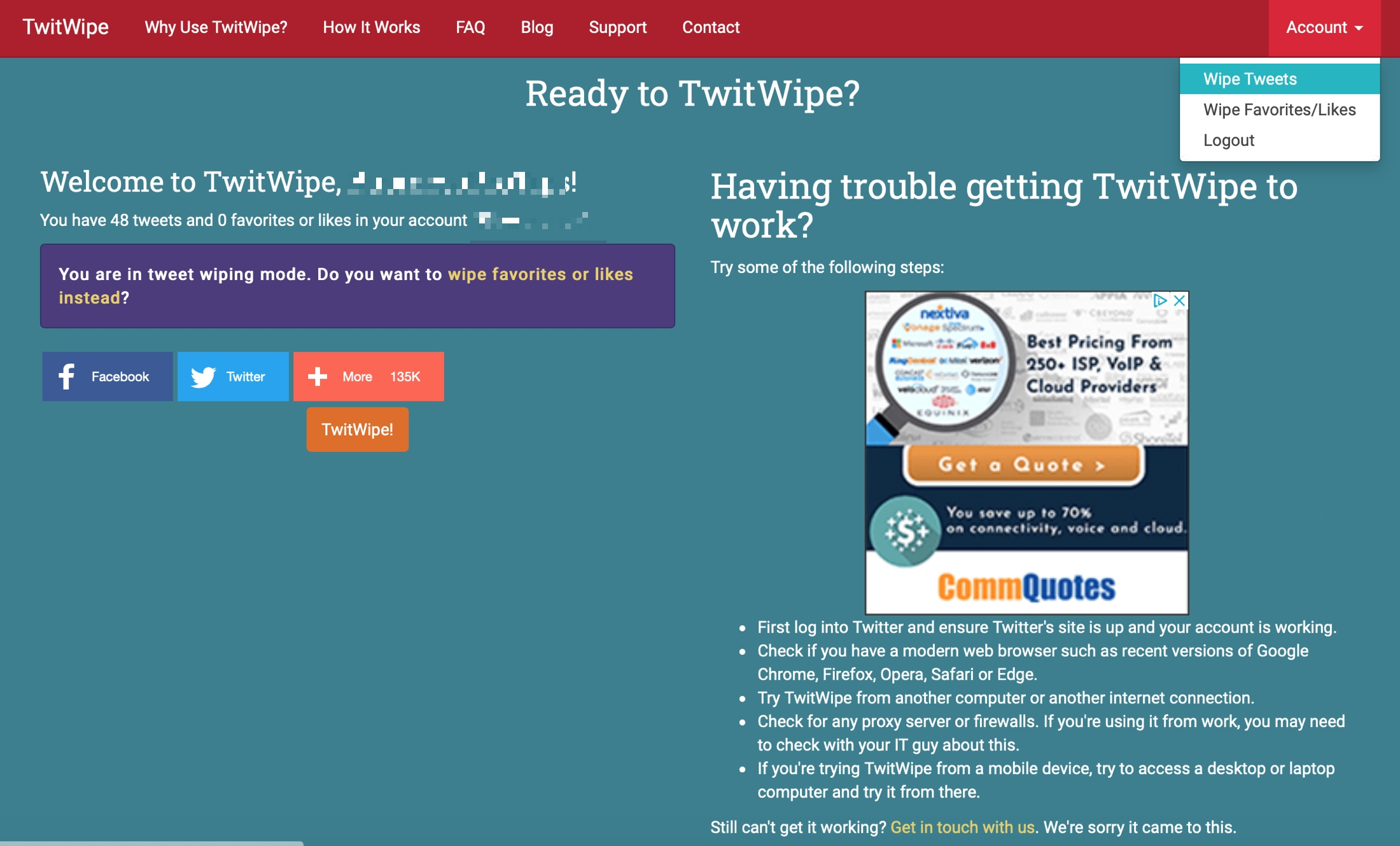 TwitWipe on the web
