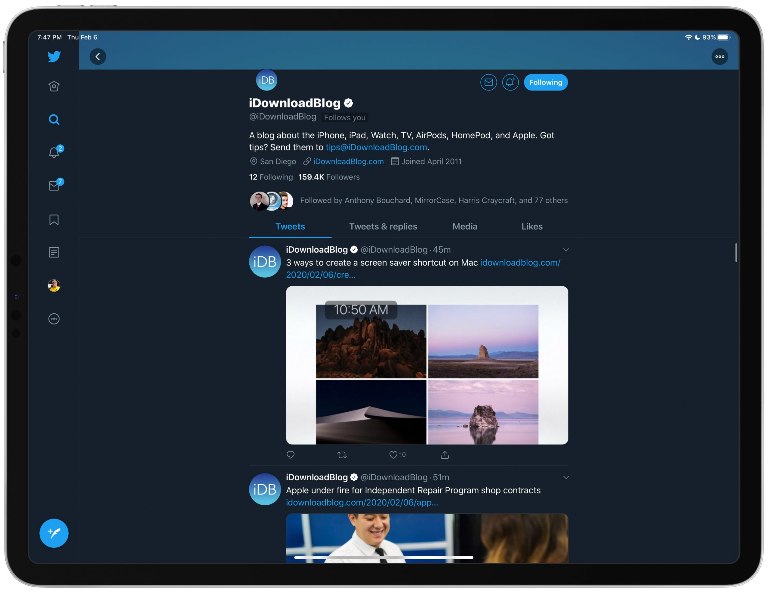disable Twitter trending sidebar iPad