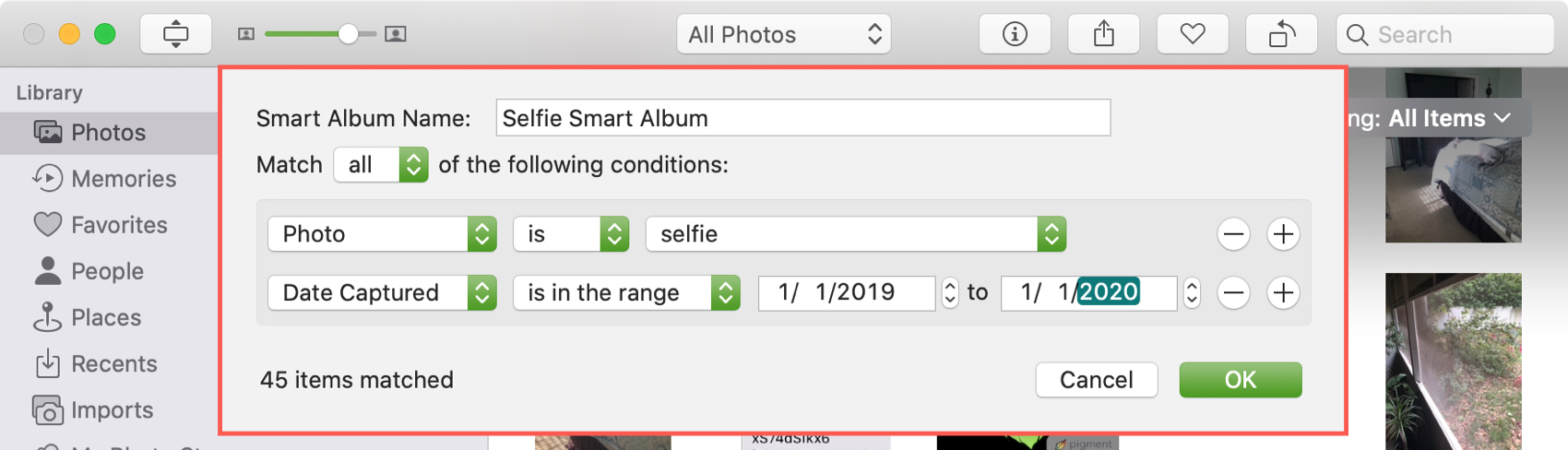 Add Condition Smart Album in Photos Mac