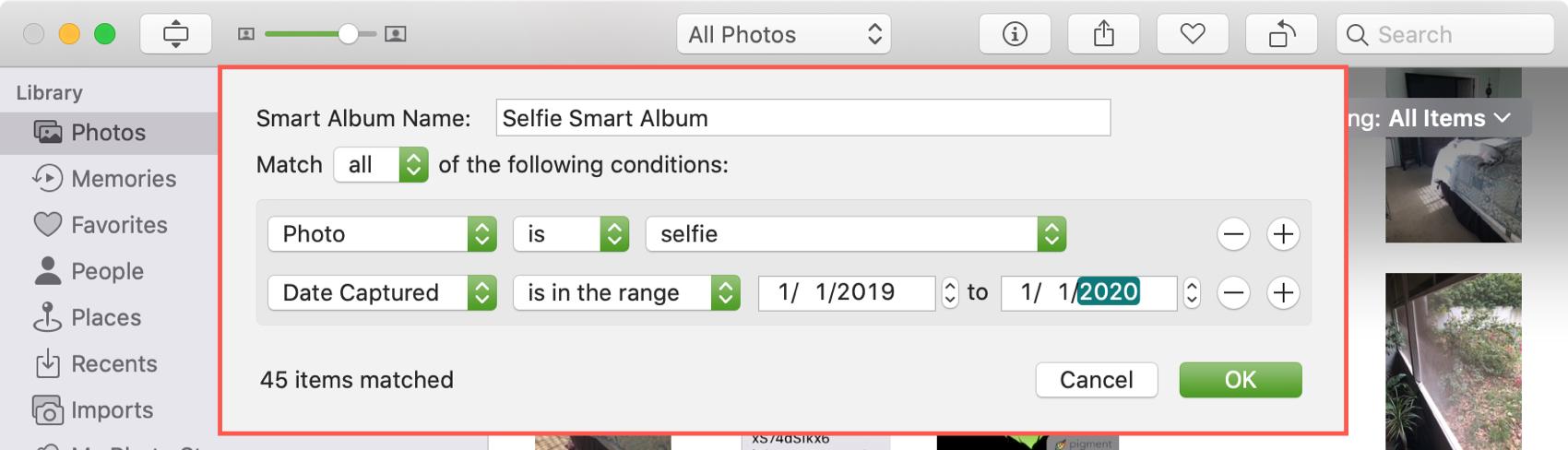 Add Condition Smart Album in Photos Mac