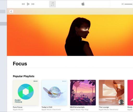 Apple Music Focus playlists Mac