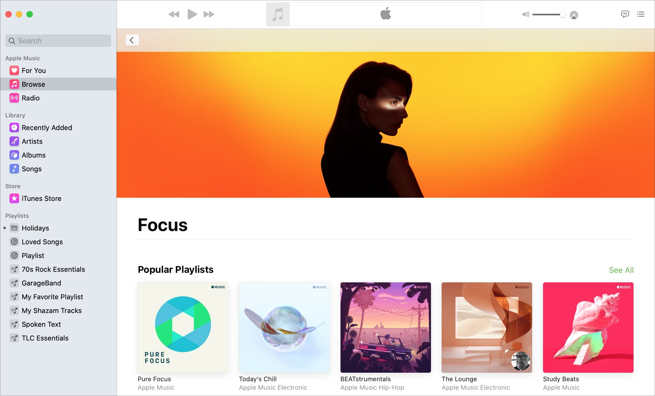 Listas de reproducción de Apple Music Focus Mac