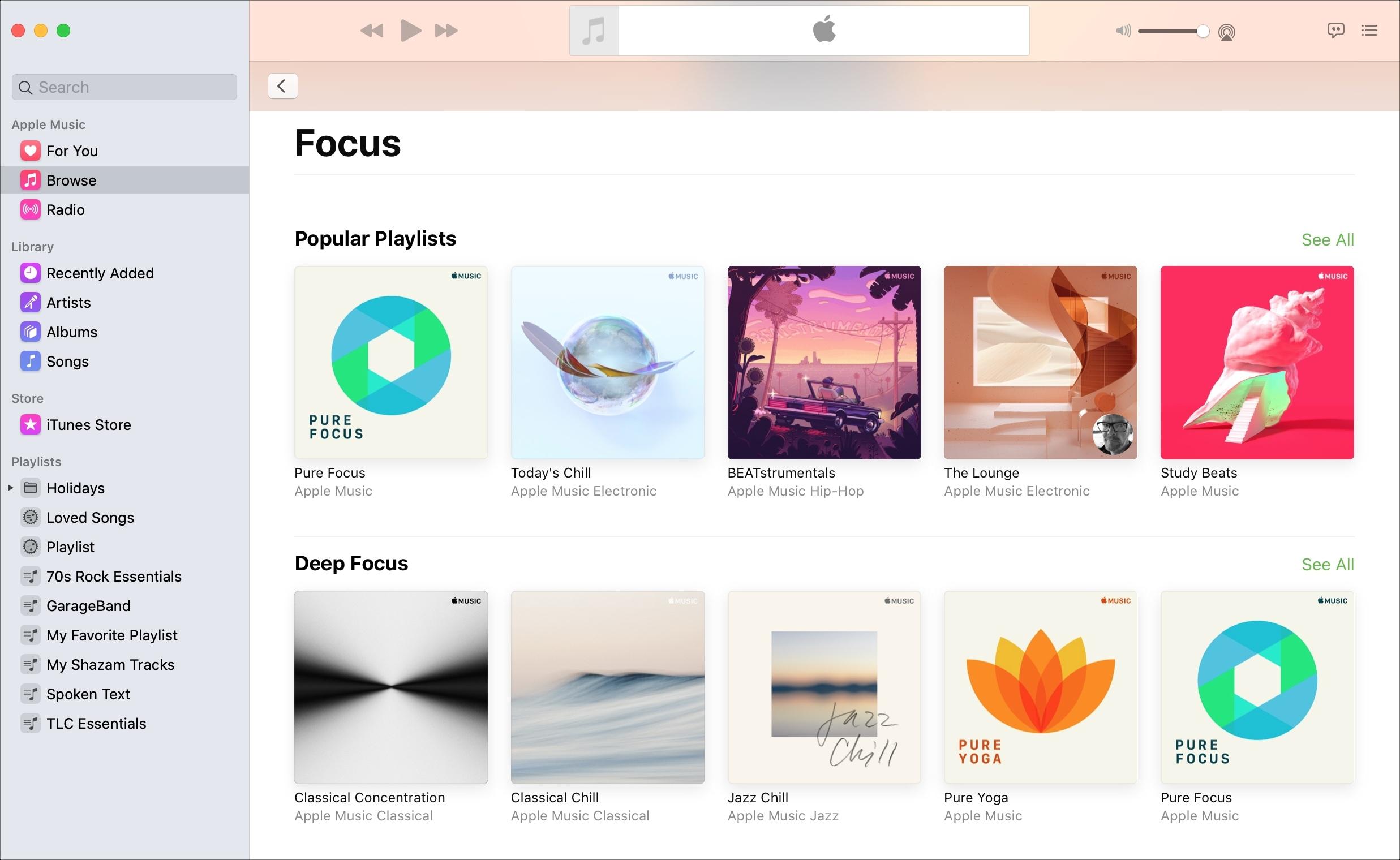 Apple Music Focus sección Mac