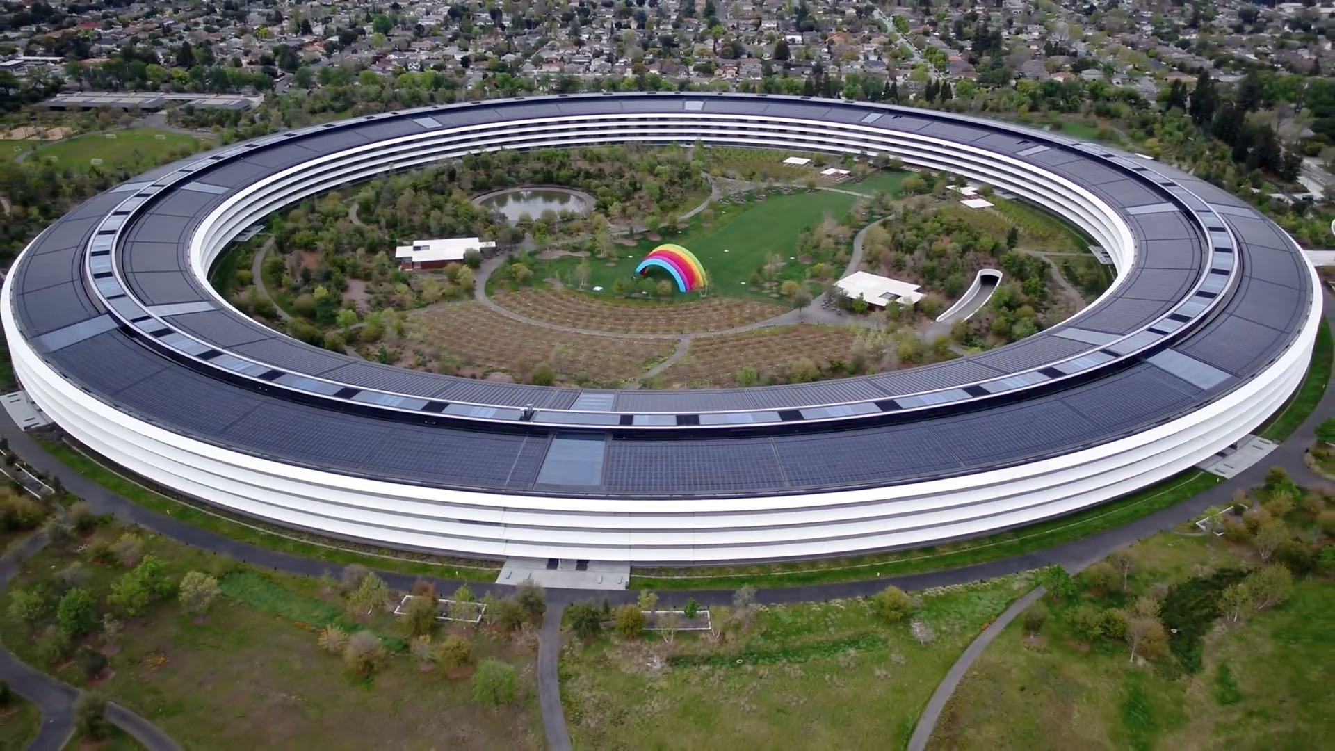 An aerial view of the Apple Park headquarters