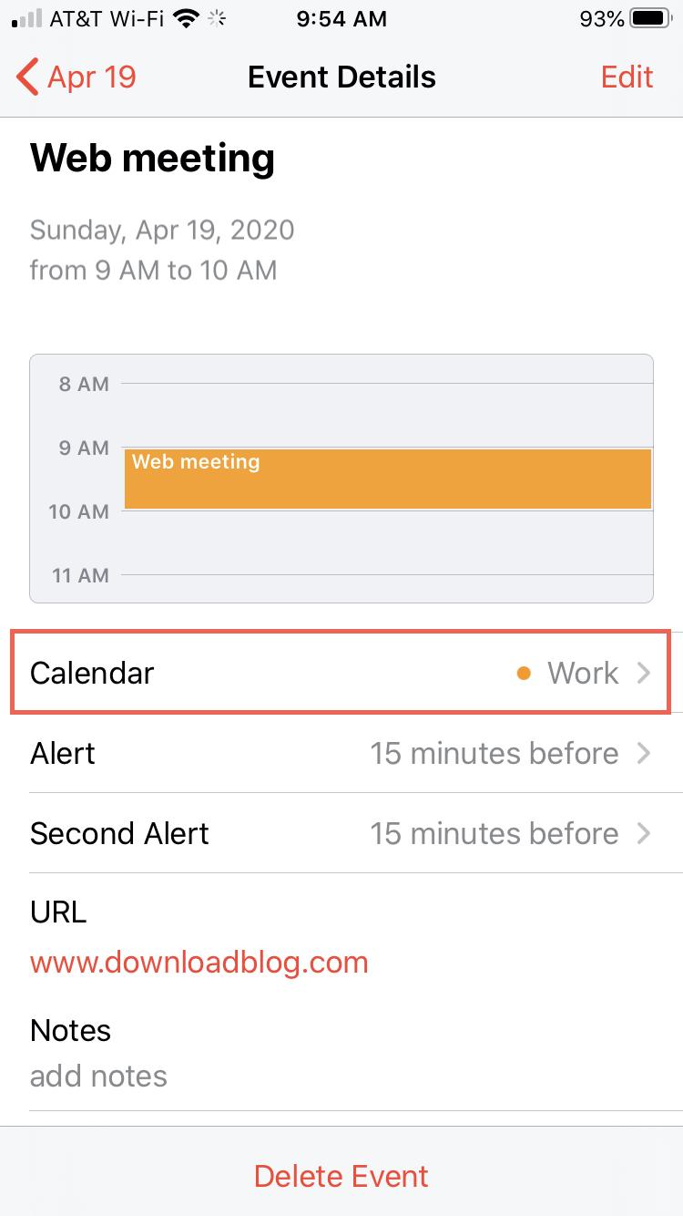 Calendar Move Event iPhone
