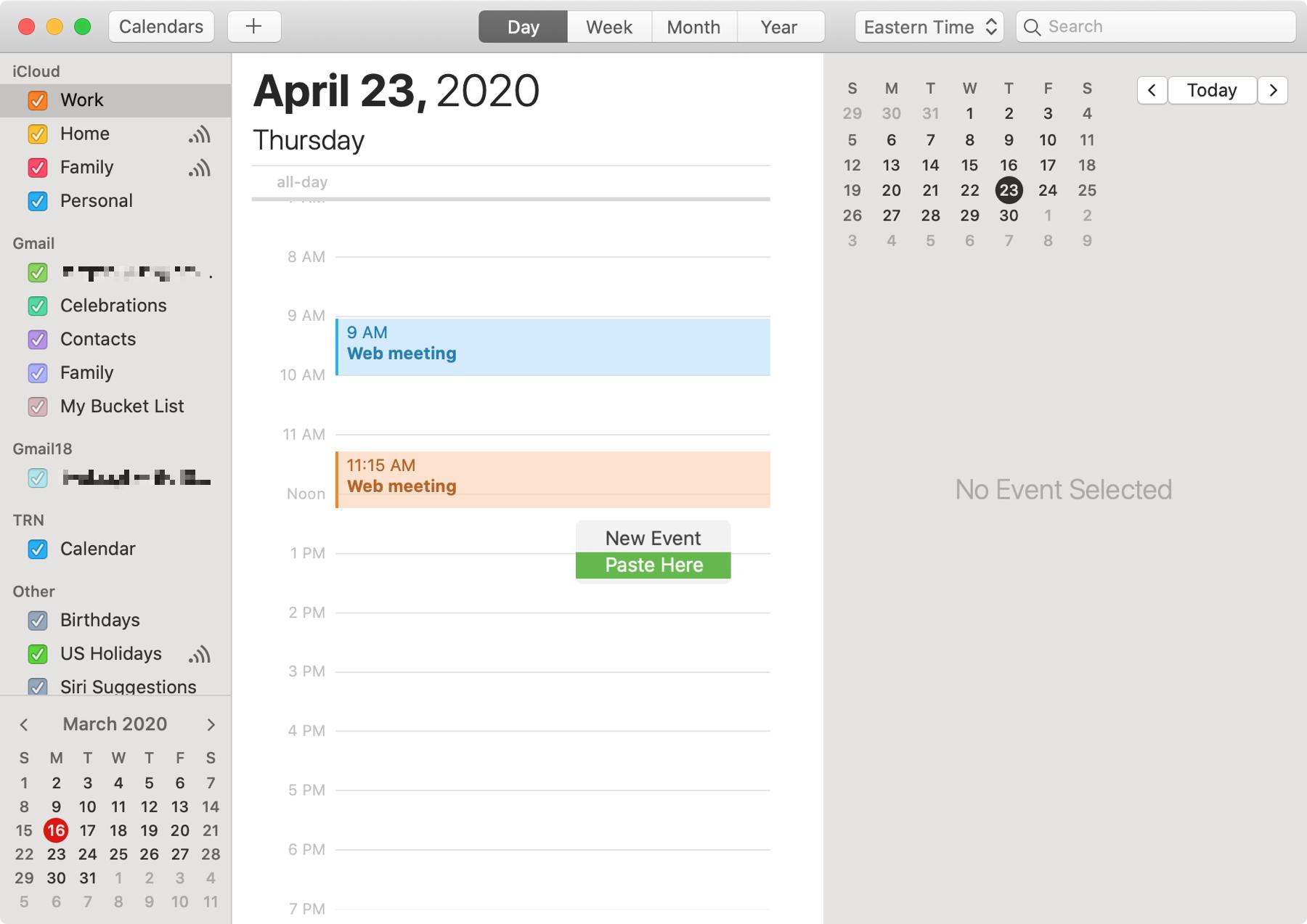 Calendar Paste Event Mac
