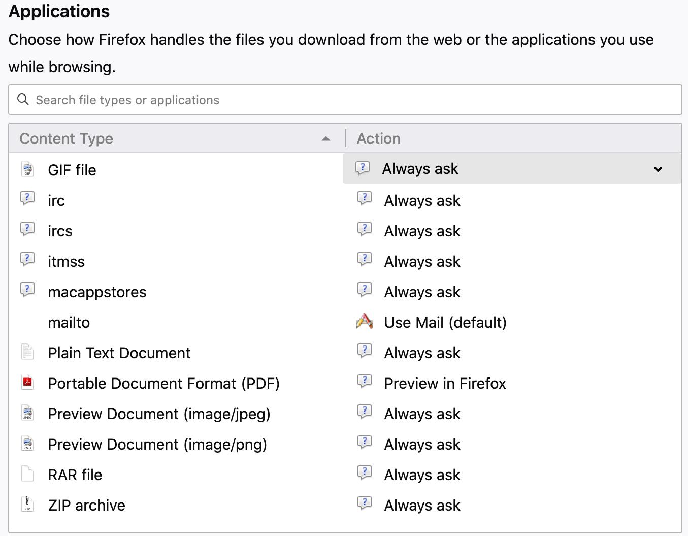 Change download locations files Firefox Mac