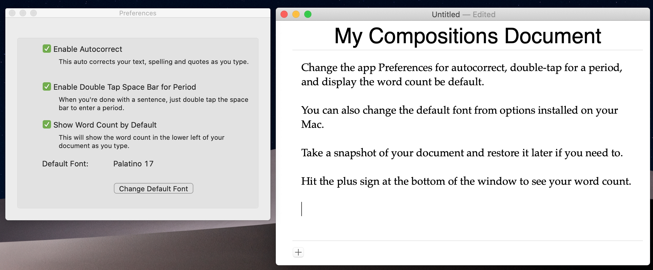 Compositions app on Mac for focused writing