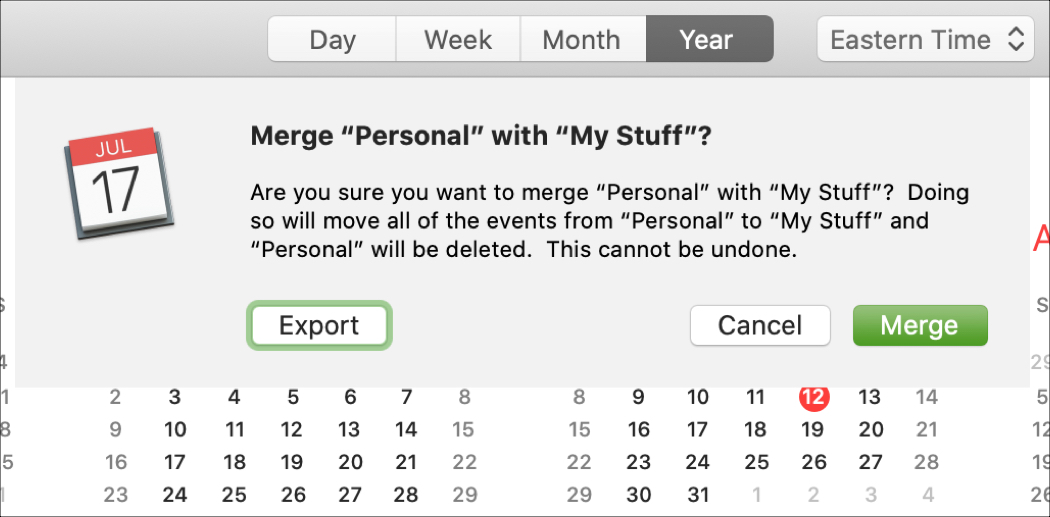Confirm Merge iCloud Calendars on Mac