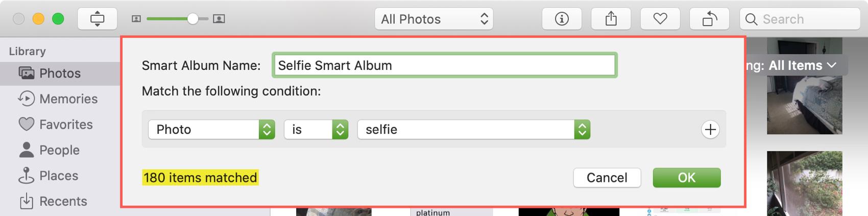 Create Smart Album in Photos Mac
