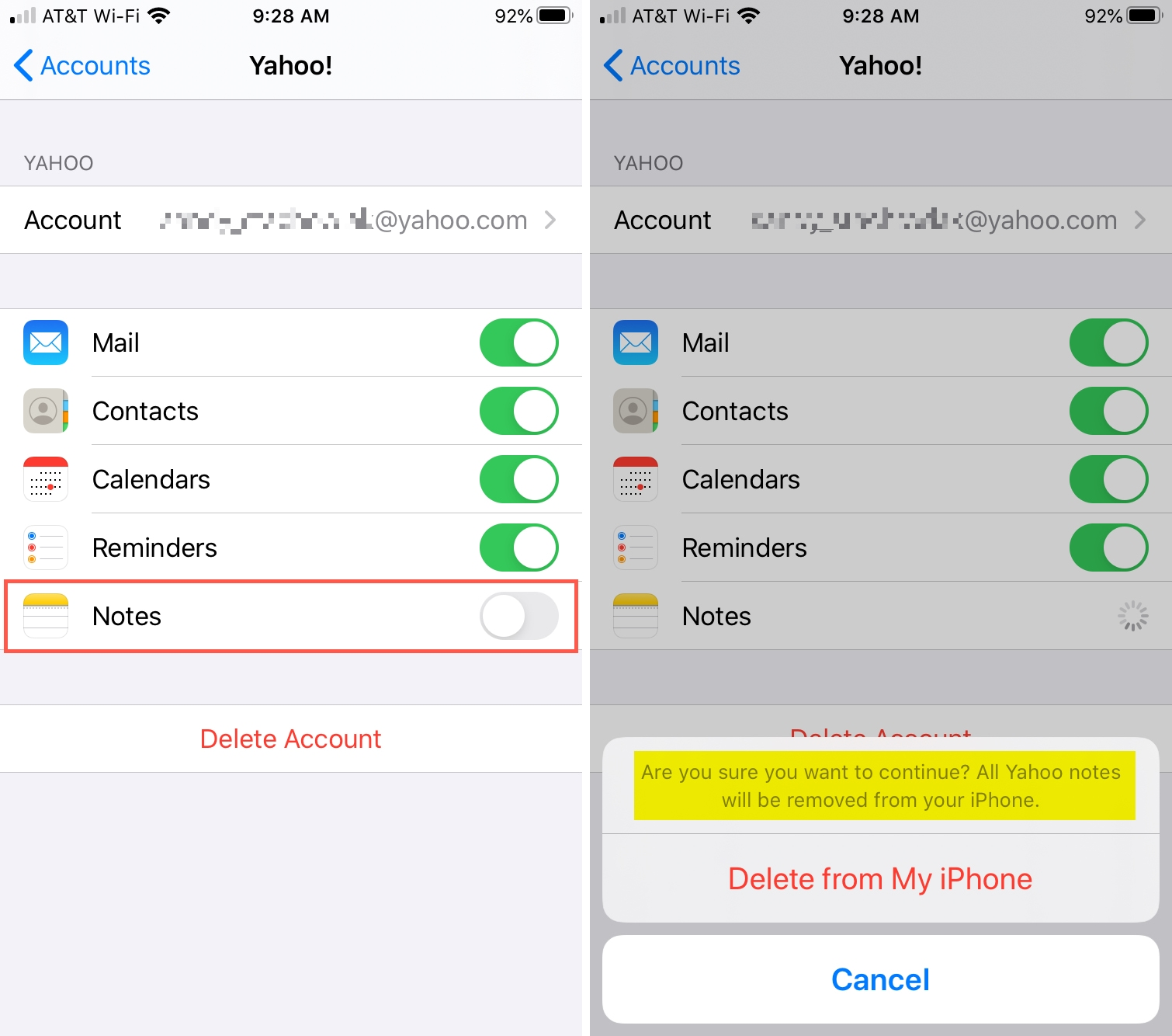 Disable Notes Account iPhone