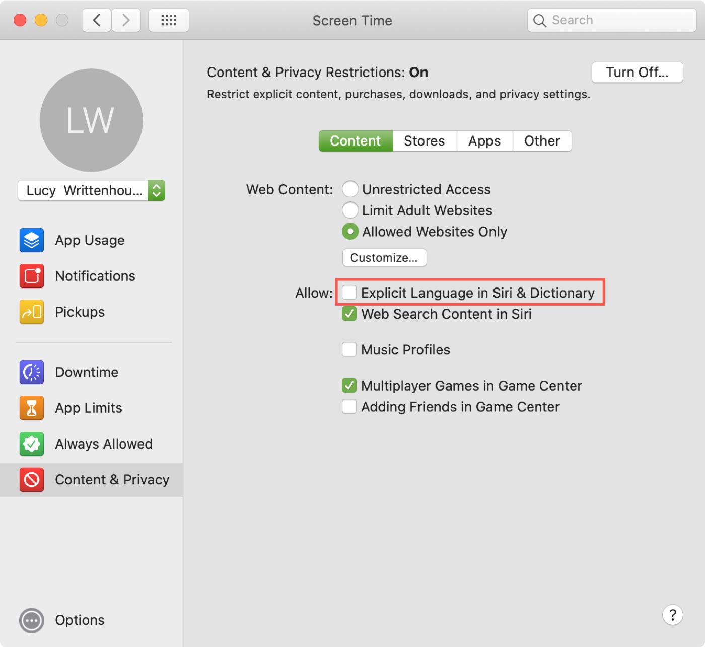 Disallow Explicit Content Dictionary Mac