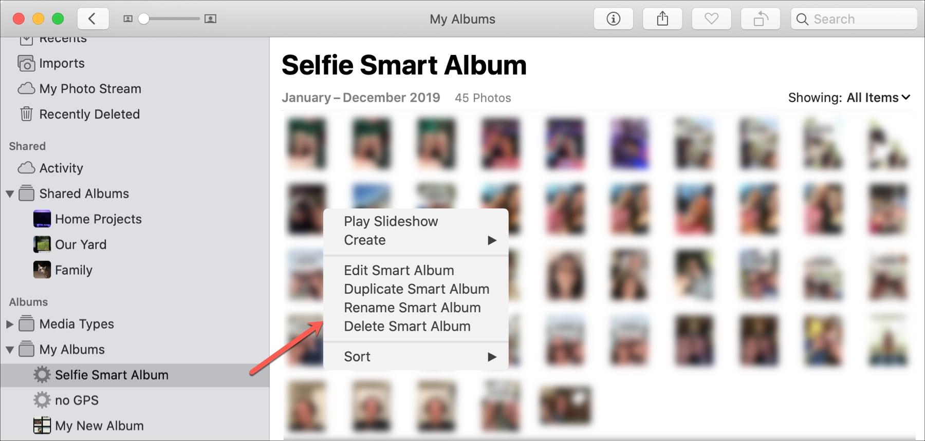 Edit Smart Album in Photos Mac
