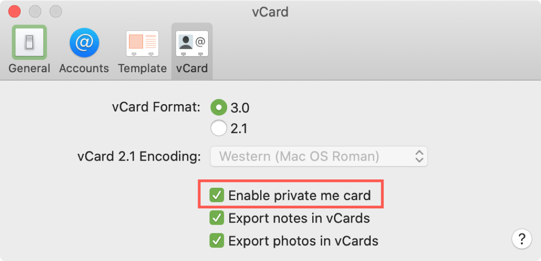 Enable Private Me Card Contacts Mac