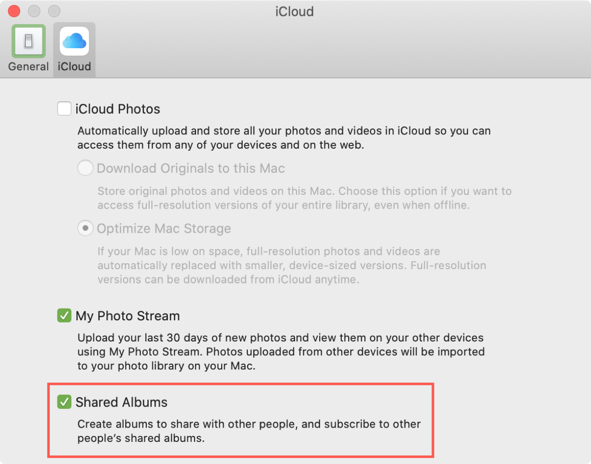 Enable Shared Albums Mac