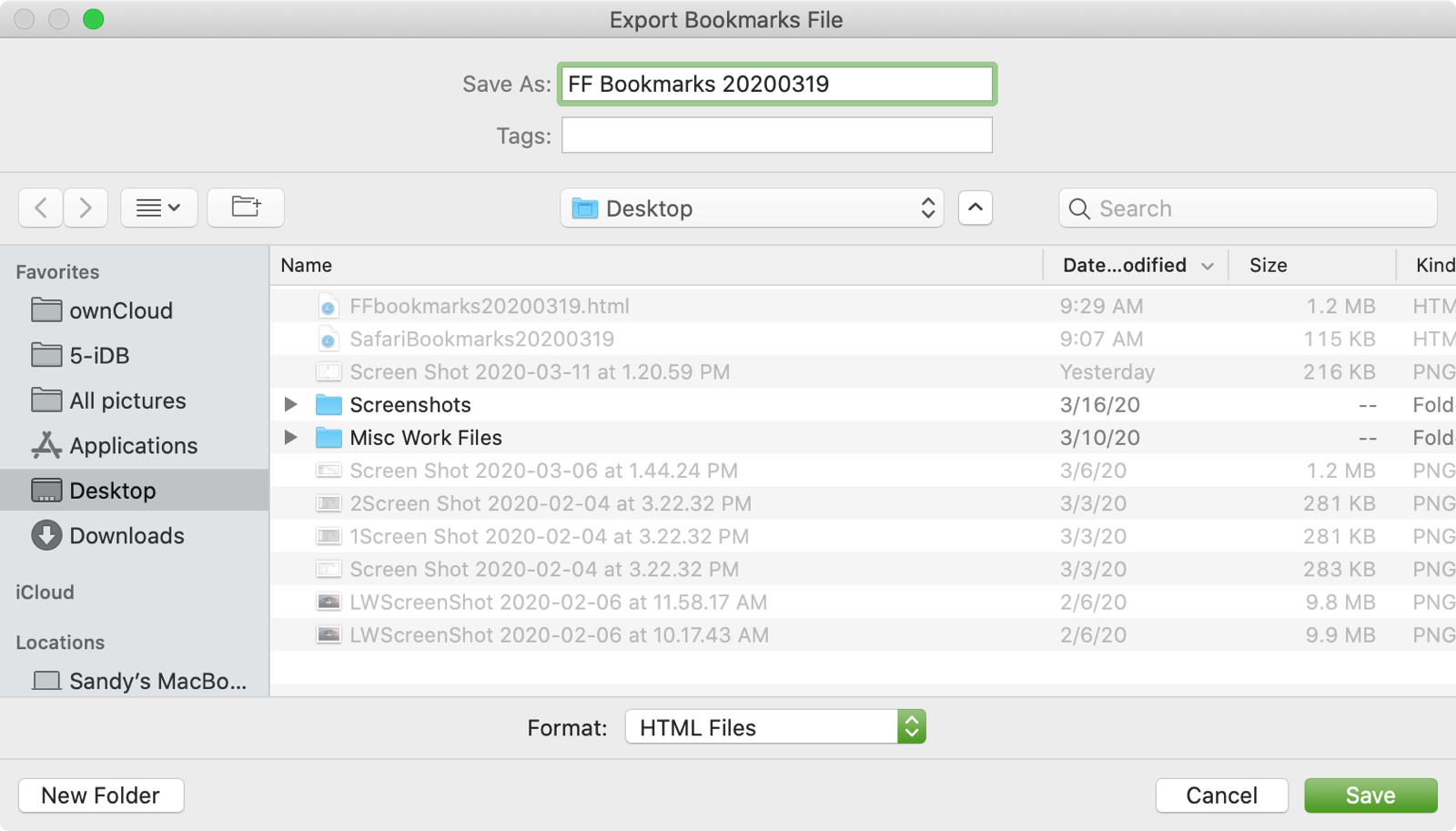 Firefox Export Bookmarks File