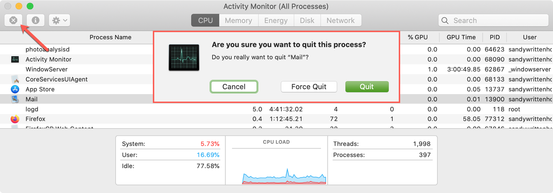 Force Quit Process Activity Monitor