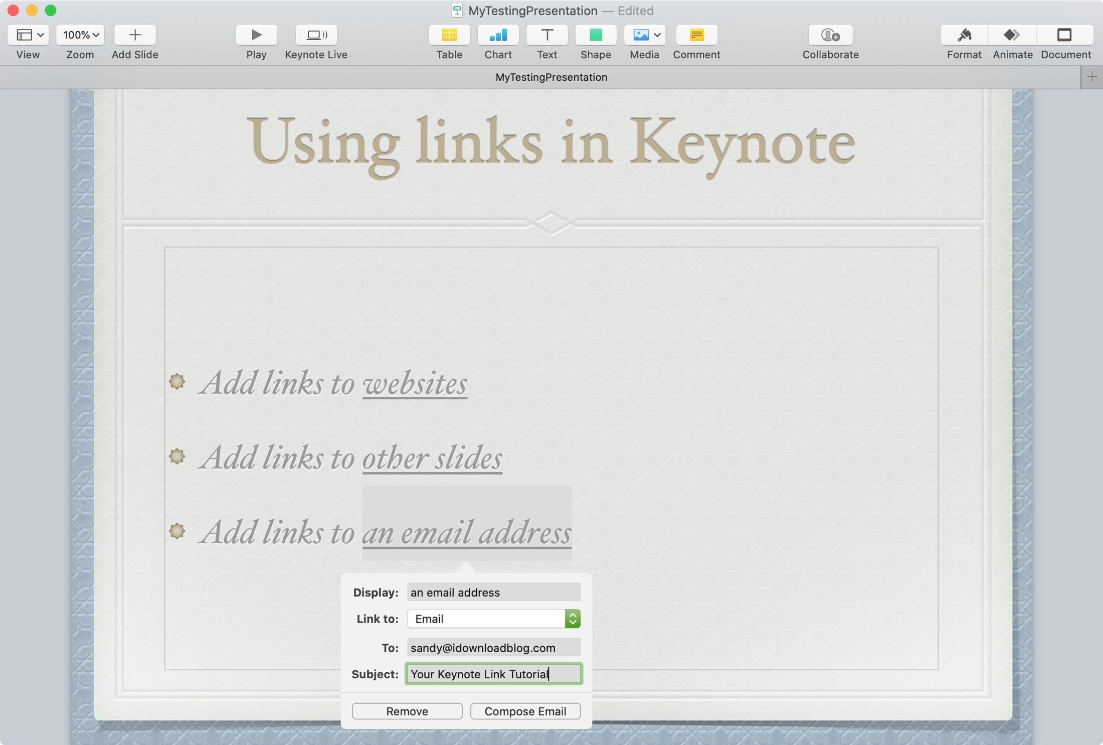 Keynote Mac Link to Email