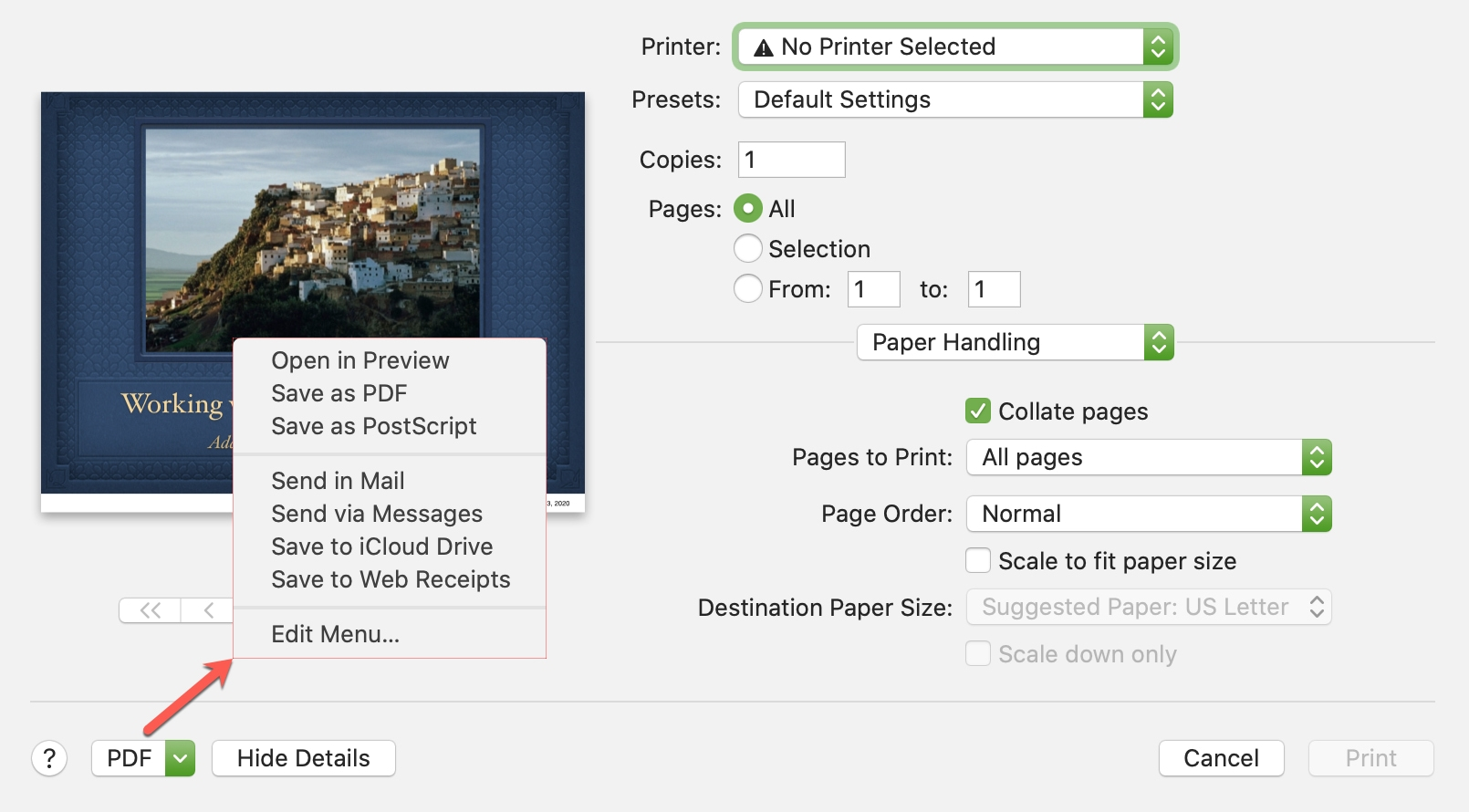 Keynote Print PDF Mac
