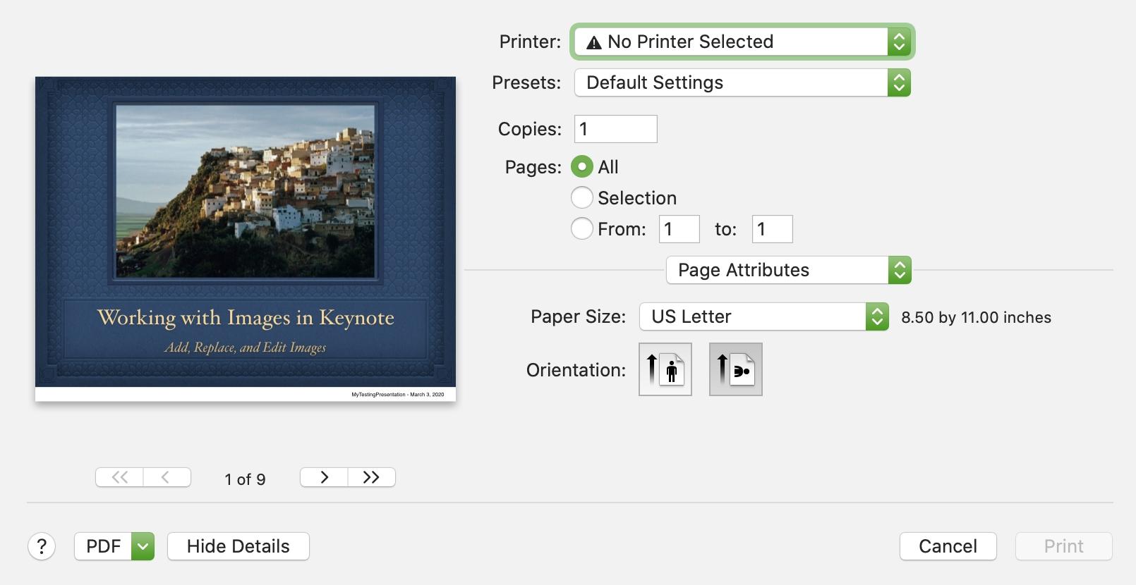 Keynote Print Page Attributes Mac