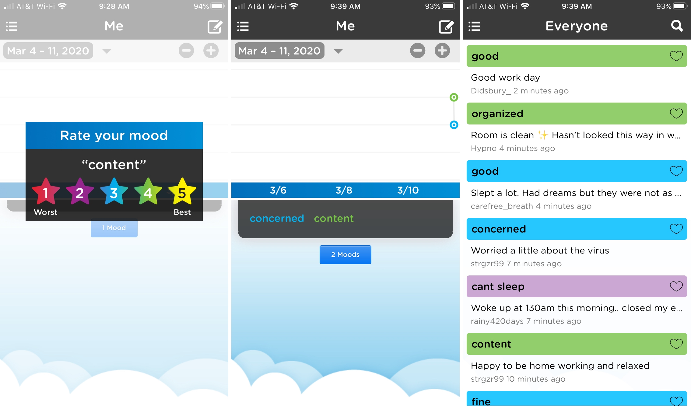 Moodtrack Social Diary on iPhone