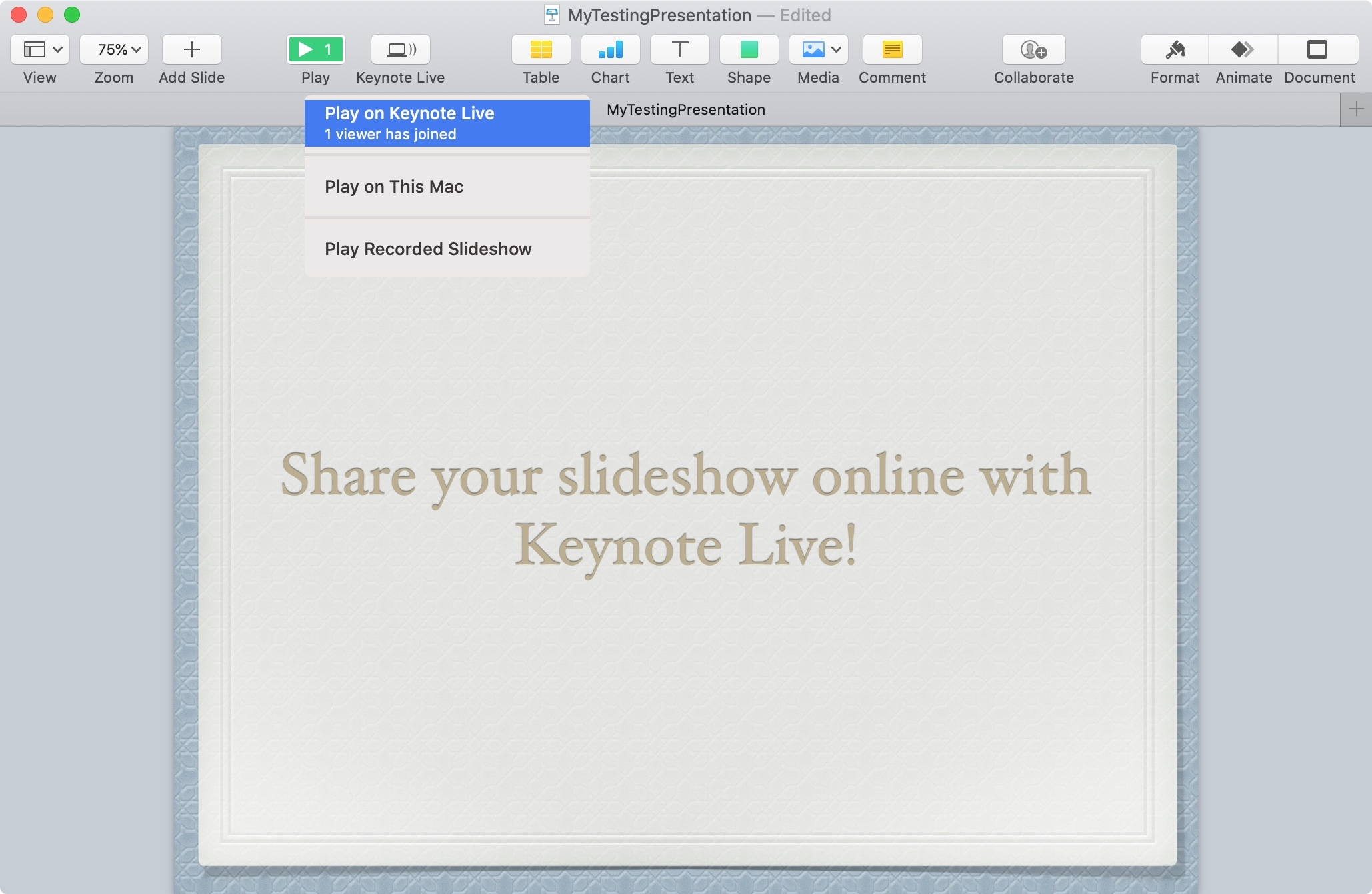 Play Later on Keynote Live Mac