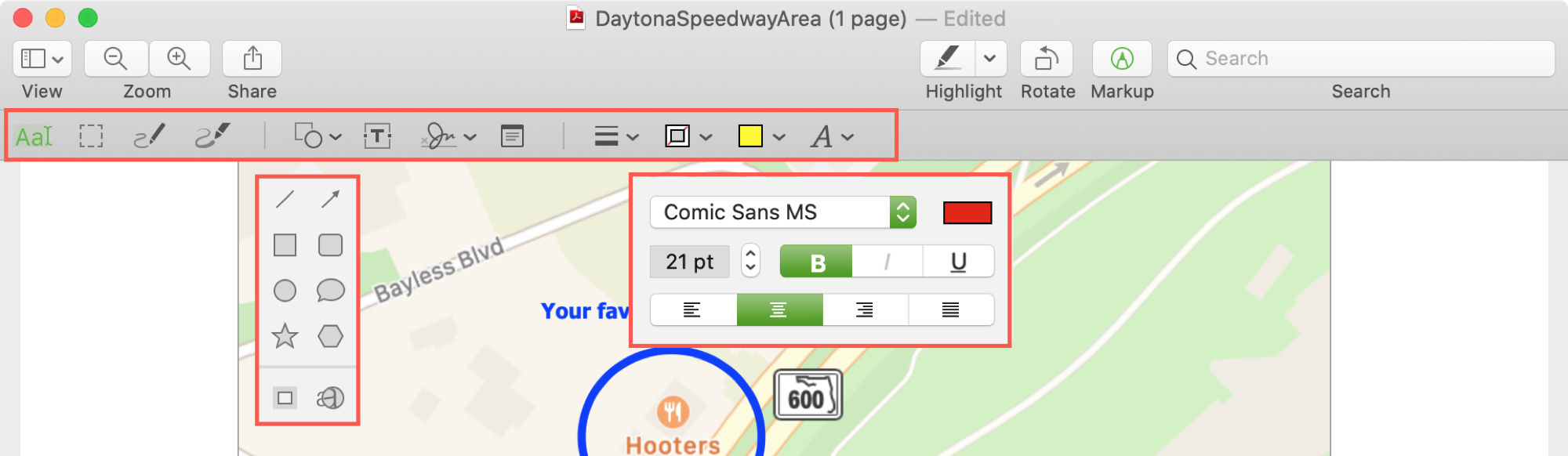 Preview Markup Toolbar Map PDF
