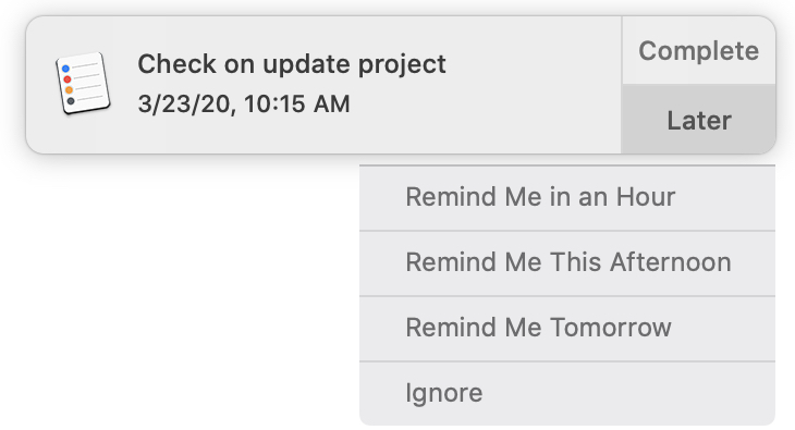 Reminders Notification Later Mac