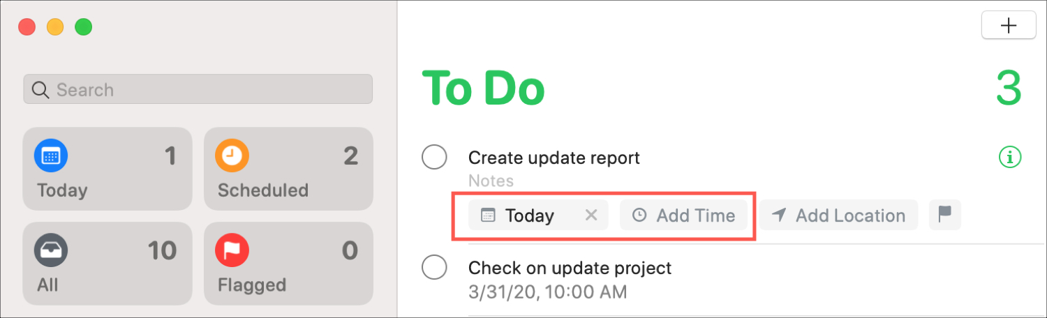 Reminders Quick Date and Time Notification Mac