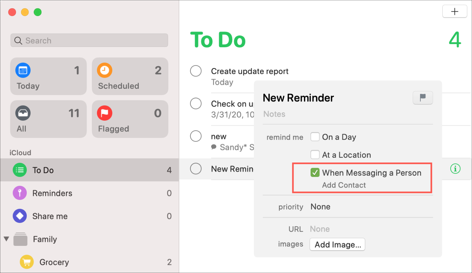Reminders When Messaging Notification Mac