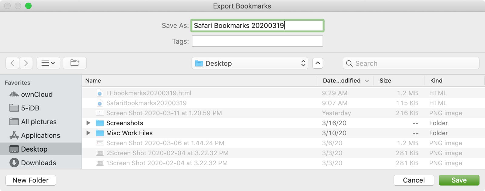Safari Export Bookmarks File