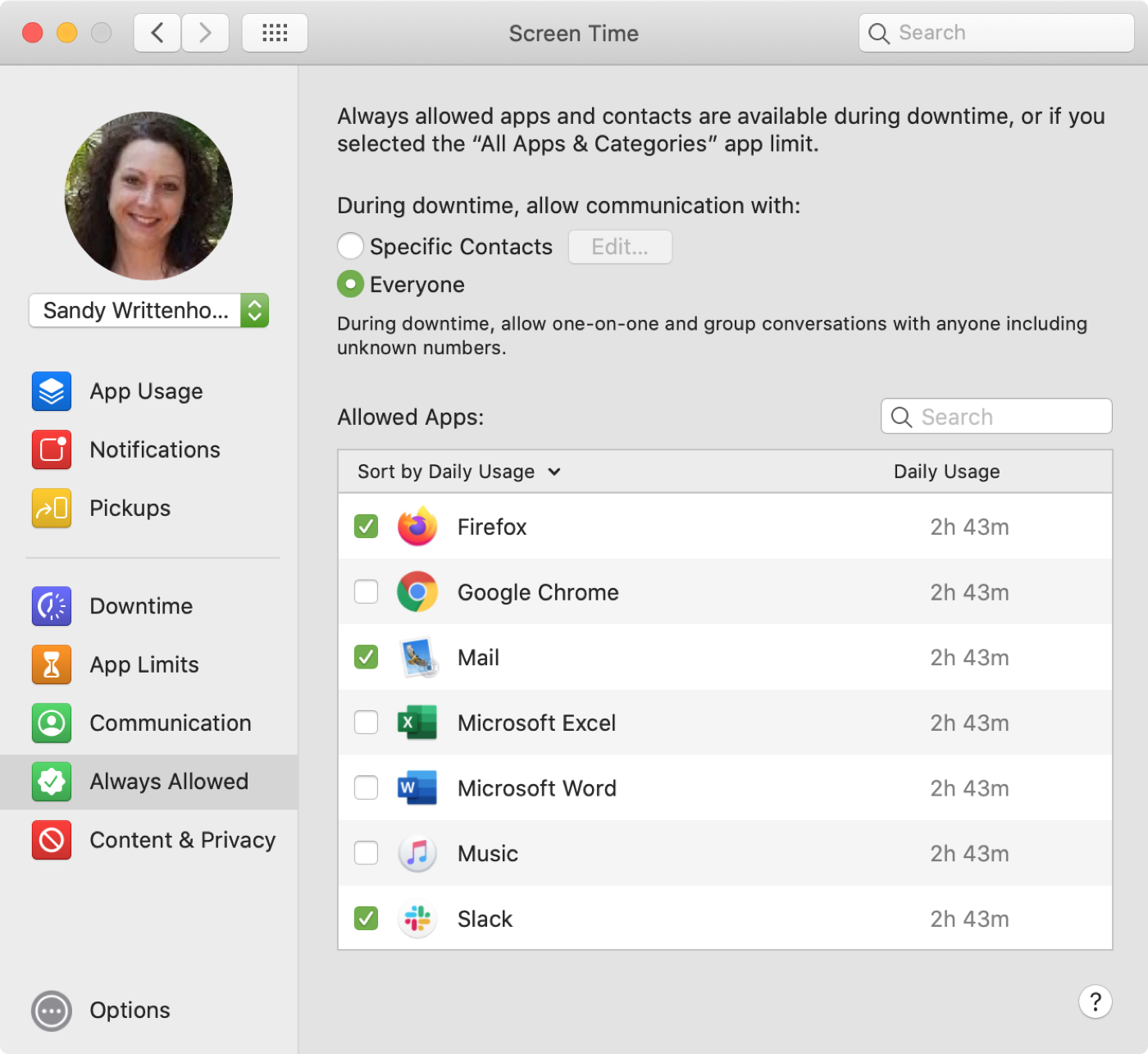 Screen Time Always Allowed Apps Mac