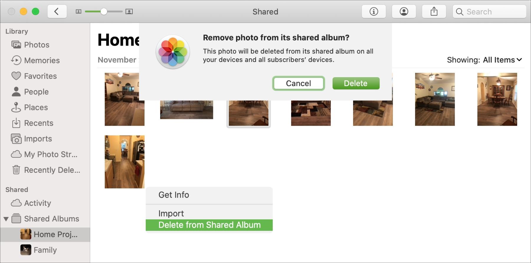 Shared Albums Mac Delete Photo