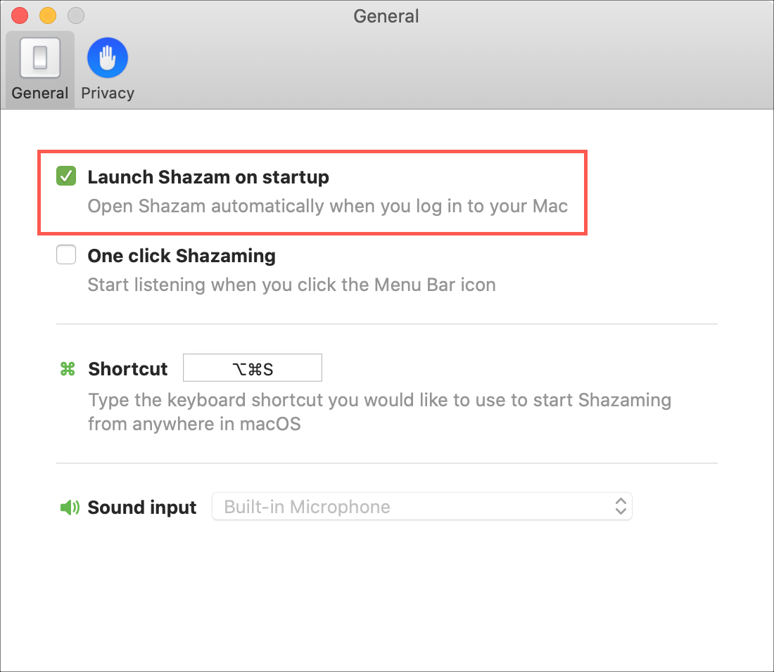 Shazam on Startup on Mac
