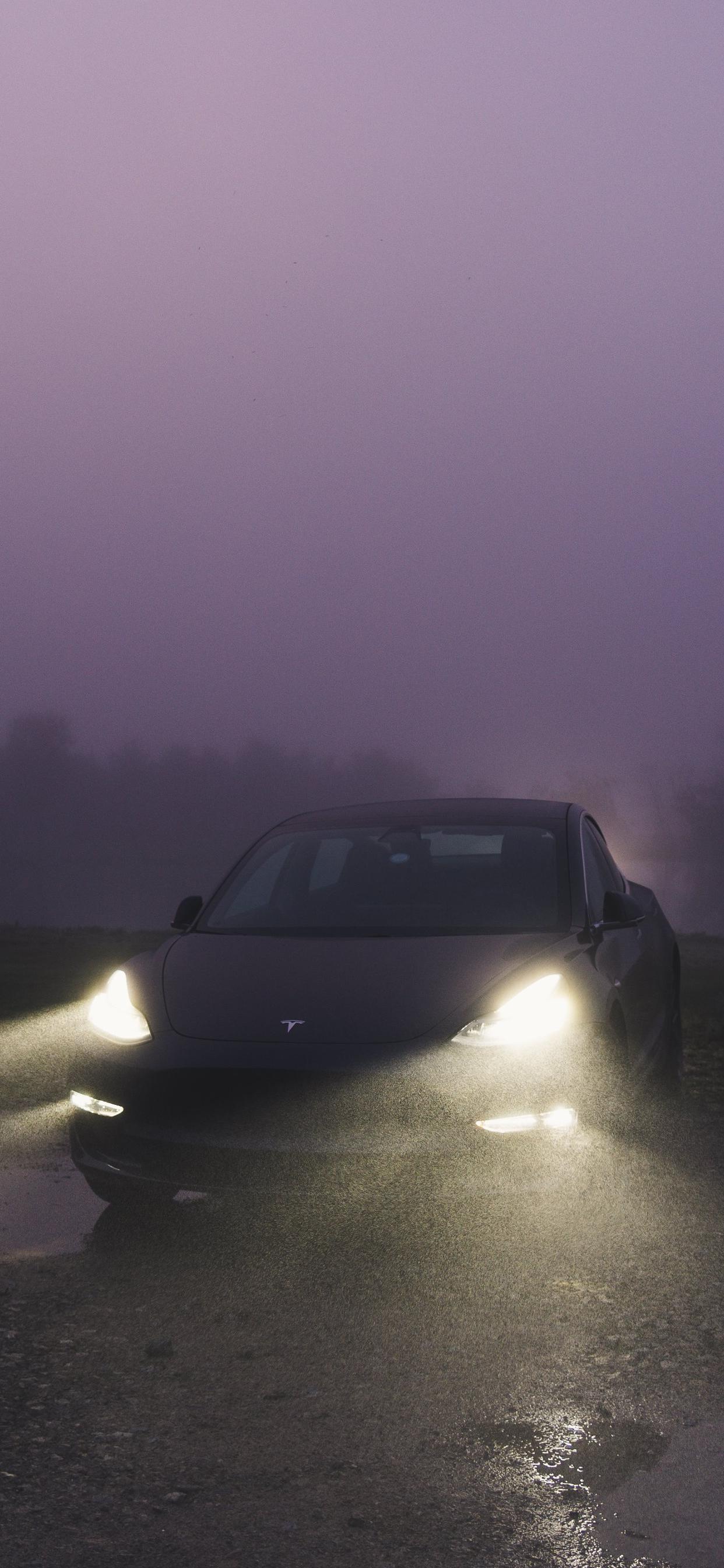 Tesla Model 3 iPhone wallpaper imgoldsworthy idownloadblog foggy purple